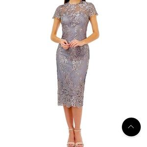Js Collections Metallic Embroidered Midi Sheath